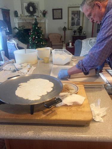 Linda Mugleston father making lefse