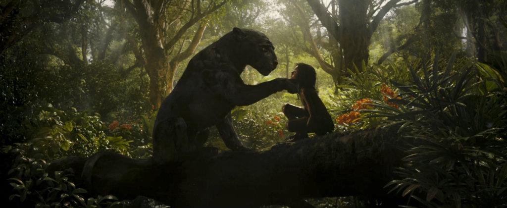 Bagheera and Rohan Chand as Mowgli in the Netflix film 'Mowgli: Legend of the Jungle'